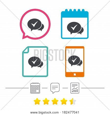 Check sign icon. Yes or Tick symbol. Confirm. Calendar, chat speech bubble and report linear icons. Star vote ranking. Vector