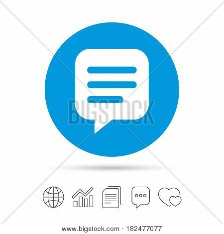 Chat sign icon. Speech bubble symbol. Communication chat bubble. Copy files, chat speech bubble and chart web icons. Vector