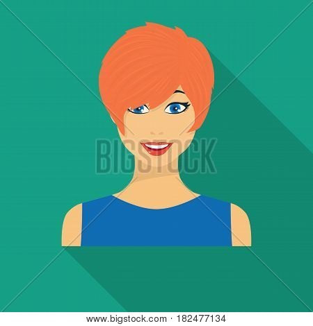 Readhead woman icon in flate style isolated on white background. Woman symbol vector illustration.