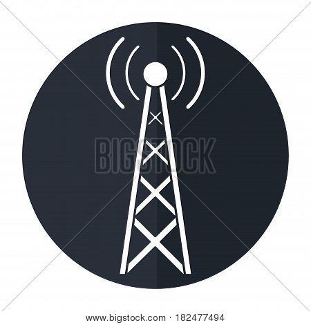 radio antenna transmission mast communication shadow vector illustration