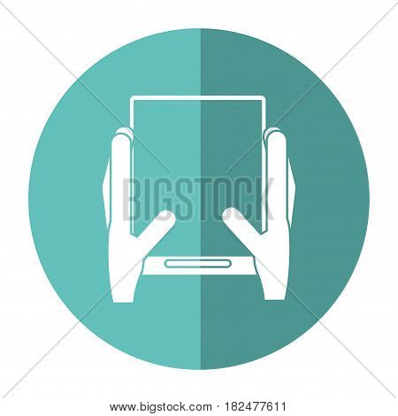 hands holds tablet touchscreen trendy shadow vector illustration eps 10