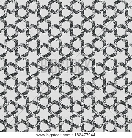 Vector abstract dotted geometric pattern background. Based on ethnic ornaments. Stipple technique. Pointillism.