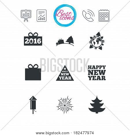 Presentation, report and calendar signs. Christmas, new year icons. Gift box, fireworks signs. Santa bag, salut and rocket symbols. Classic simple flat web icons. Vector
