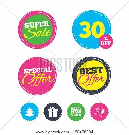 Super sale and best offer stickers. Happy new year icon. Christmas tree and gift box signs. Fireworks rocket symbol. Shopping labels. Vector