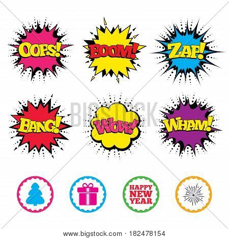 Comic Wow, Oops, Boom and Wham sound effects. Happy new year icon. Christmas tree and gift box signs. Fireworks explosive symbol. Zap speech bubbles in pop art. Vector