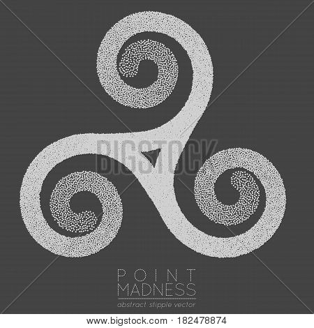 Vector illustration of abstract dotted symbol triskelion. Celtic sacred geometry sign made in stippling technique. Isolated halftone symbol. Pointillism. Three interlocked spirals.