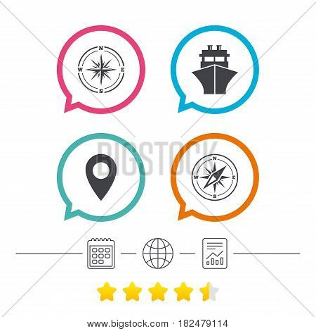 Windrose navigation compass icons. Shipping delivery sign. Location map pointer symbol. Calendar, internet globe and report linear icons. Star vote ranking. Vector