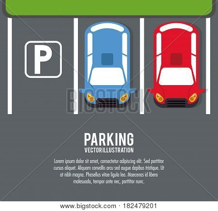car vehicle auto parking zone park space road sign street icon. Colorful and flat design. Vector illustration