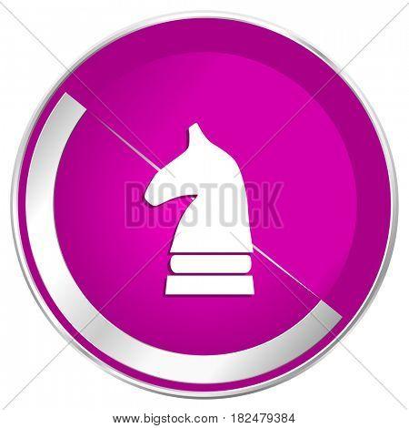 Chess horse web design violet silver metallic border internet icon.
