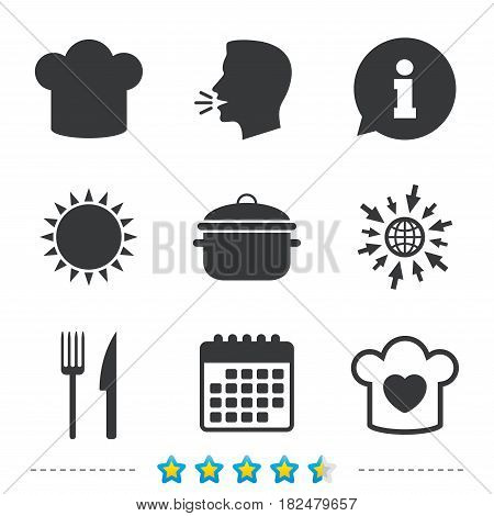 Chief hat and cooking pan icons. Fork and knife signs. Boil or stew food symbols. Information, go to web and calendar icons. Sun and loud speak symbol. Vector