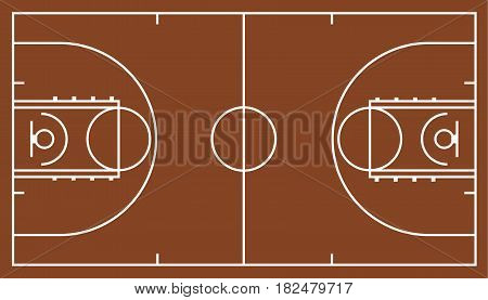 brown basketball court, Stadium top view, vector