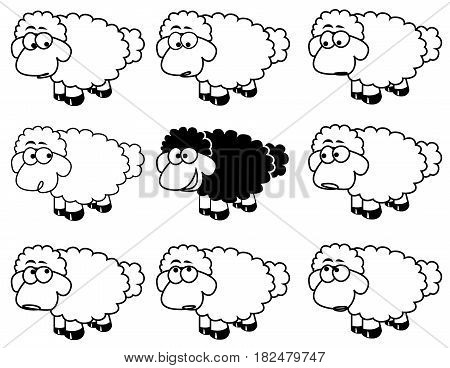 black sheep concept ,difference idea with white sheep on white background