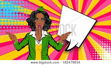 Beautiful sexy black african shocked stewardess girl, style pop art. Comics book retro halftone background. Vector pin up vintage dot illustration. Empty blank comic text speech bubble.