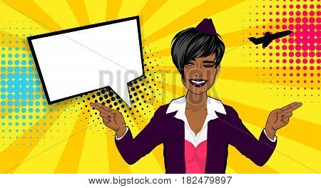 Beautiful sexy young black stewardess girl long hair, smiling style pop art. Comics book retro halftone background. Vector pin up vintage dot illustration. Empty blank comic text speech bubble.