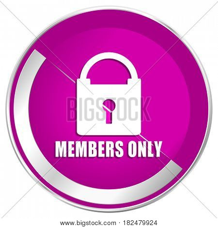Members only web design violet silver metallic border internet icon.
