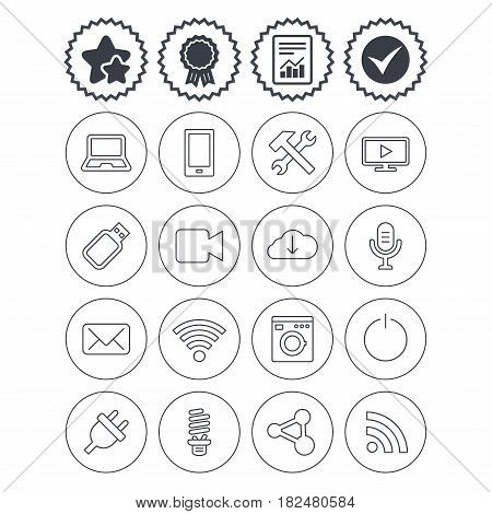 Report, check tick and award signs. Devices and technologies icons. Notebook, smartphone and wi-fi symbols. Usb flash, video camera, microphone thin outline signs. Vector