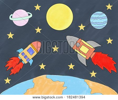 Abstract hand draw doodle rocket in space world with star on paper canvas illustration for children book watercolor paint style digital art cartoon style space exploration concept