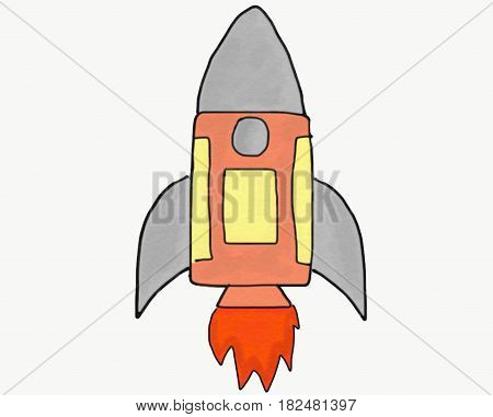 Abstract hand draw doodle rocket isolated illustration for children book cartoon watercolor style start up and innovation concept digital art