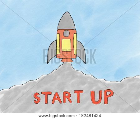 Abstract hand draw doodle rocket fly to sky illustration for children book cartoon watercolor style business start up concept digital art