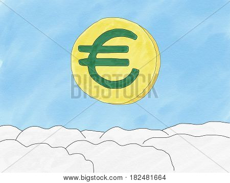 Abstract hand draw doodle euro coin on sky background weak of euro currency concept illustration copy space for text watercolor paint style children cartoon book style