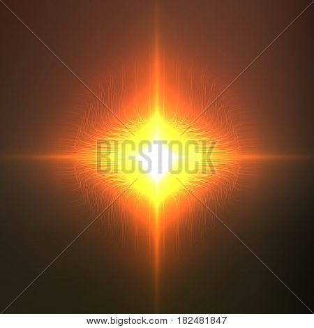 Abstract vector cyber flower with bright flare in the center. Sphere of bioluminescent glowing tentacles. Futuristic space organism or plant. Colony of unknown organisms. Eps10