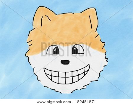 abstract hand draw sketch doodle pomeranian dog smile face on blue background illustration watercolor paint style digital art children cartoon book style