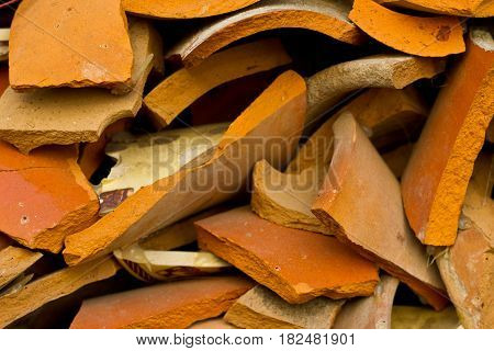 Fragments Or Pieces Of Broken Pottery Utensils Brown