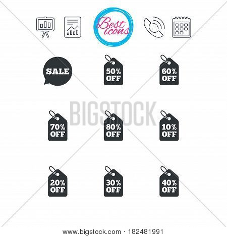 Presentation, report and calendar signs. Sale discounts icons. Special offer signs. Shopping price tag symbols. Classic simple flat web icons. Vector