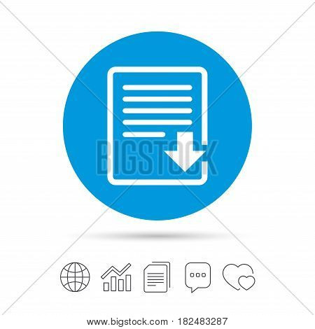 Download file icon. File document symbol. Copy files, chat speech bubble and chart web icons. Vector