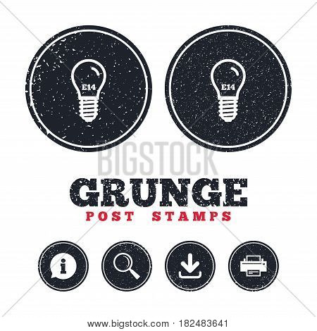 Grunge post stamps. Light bulb icon. Lamp E14 screw socket symbol. Led light sign. Information, download and printer signs. Aged texture web buttons. Vector