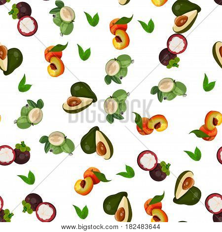 Very high quality original trendy vector seamless pattern with lychee, mangosteen, feijoa, avocado, exotic tropical fruit