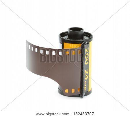 35mm photo film reel on white background