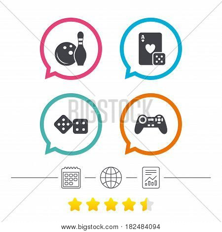 Bowling and Casino icons. Video game joystick and playing card with dice symbols. Entertainment signs. Calendar, internet globe and report linear icons. Star vote ranking. Vector