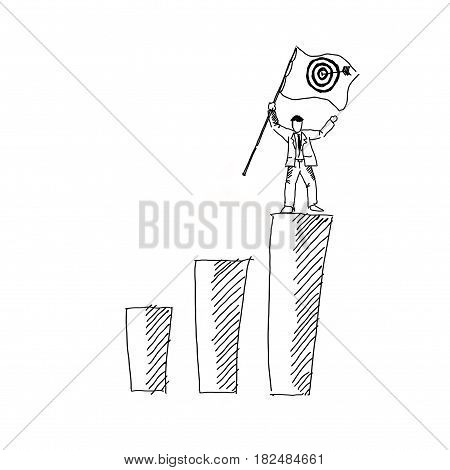 illustration of a man standing on top and carrying a flag sketch