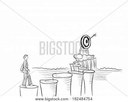 a man step on foothold to reach a destination with an arrow board illustration sketch