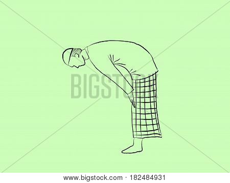 Ruku as one of shalat position illustration with green background sketch