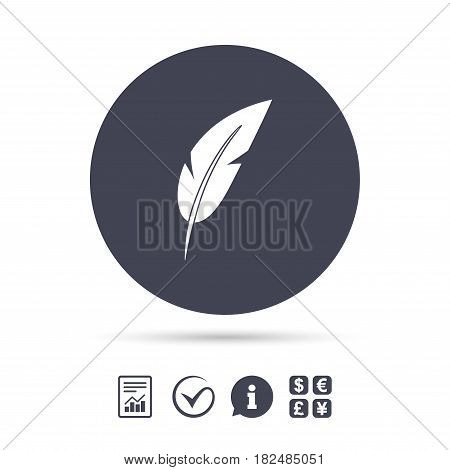 Feather sign icon. Retro pen symbol. Light weight symbol. Report document, information and check tick icons. Currency exchange. Vector