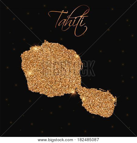 Tahiti Map Filled With Golden Glitter. Luxurious Design Element, Vector Illustration.