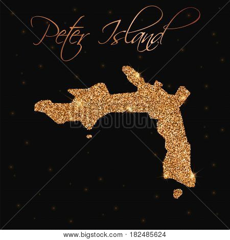 Peter Island Map Filled With Golden Glitter. Luxurious Design Element, Vector Illustration.