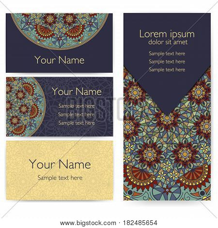 Invitation, cards with ethnic arabesque elements. Arabesque style design. Zentangle elements. Business cards.