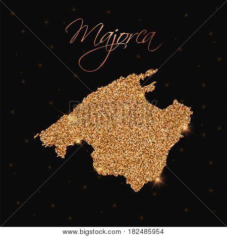 Majorca Map Filled With Golden Glitter. Luxurious Design Element, Vector Illustration.