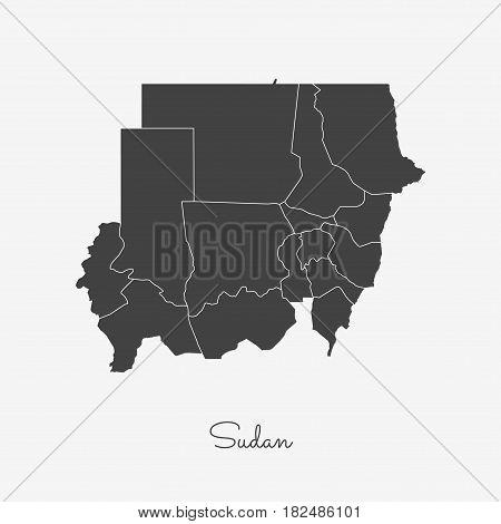 Sudan Region Map: Grey Outline On White Background. Detailed Map Of Sudan Regions. Vector Illustrati