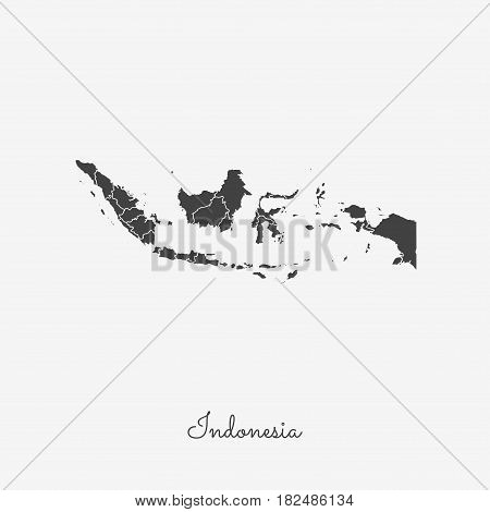 Indonesia Region Map: Grey Outline On White Background. Detailed Map Of Indonesia Regions. Vector Il