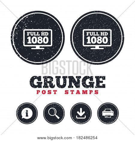 Grunge post stamps. Full hd widescreen tv sign icon. 1080p symbol. Information, download and printer signs. Aged texture web buttons. Vector