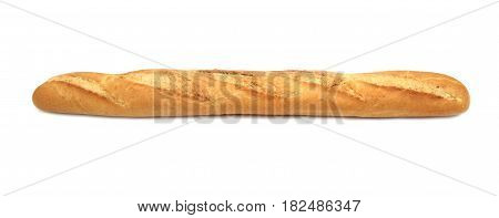 Fresh and delicious baguette on white background