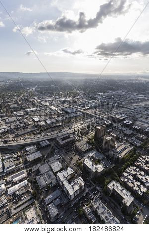 Aerial view of downtown Burbank with the San Fernando Valley area of Los Angeles California in background.