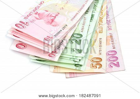 Turkish Lira ( TL ) on white background
