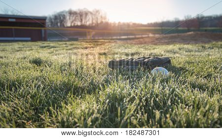 Baseball glove and baseball in grass field near dugout as sun rises