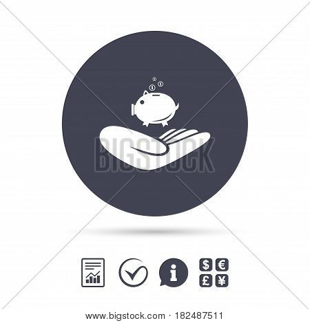Donation hand sign icon. Hand holds Piggy bank. Charity or endowment symbol. Human helping hand palm. Report document, information and check tick icons. Currency exchange. Vector