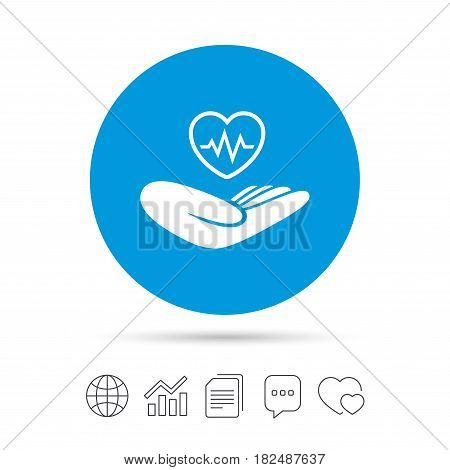 Life insurance sign. Hand holds human heart symbol. Health insurance. Copy files, chat speech bubble and chart web icons. Vector
